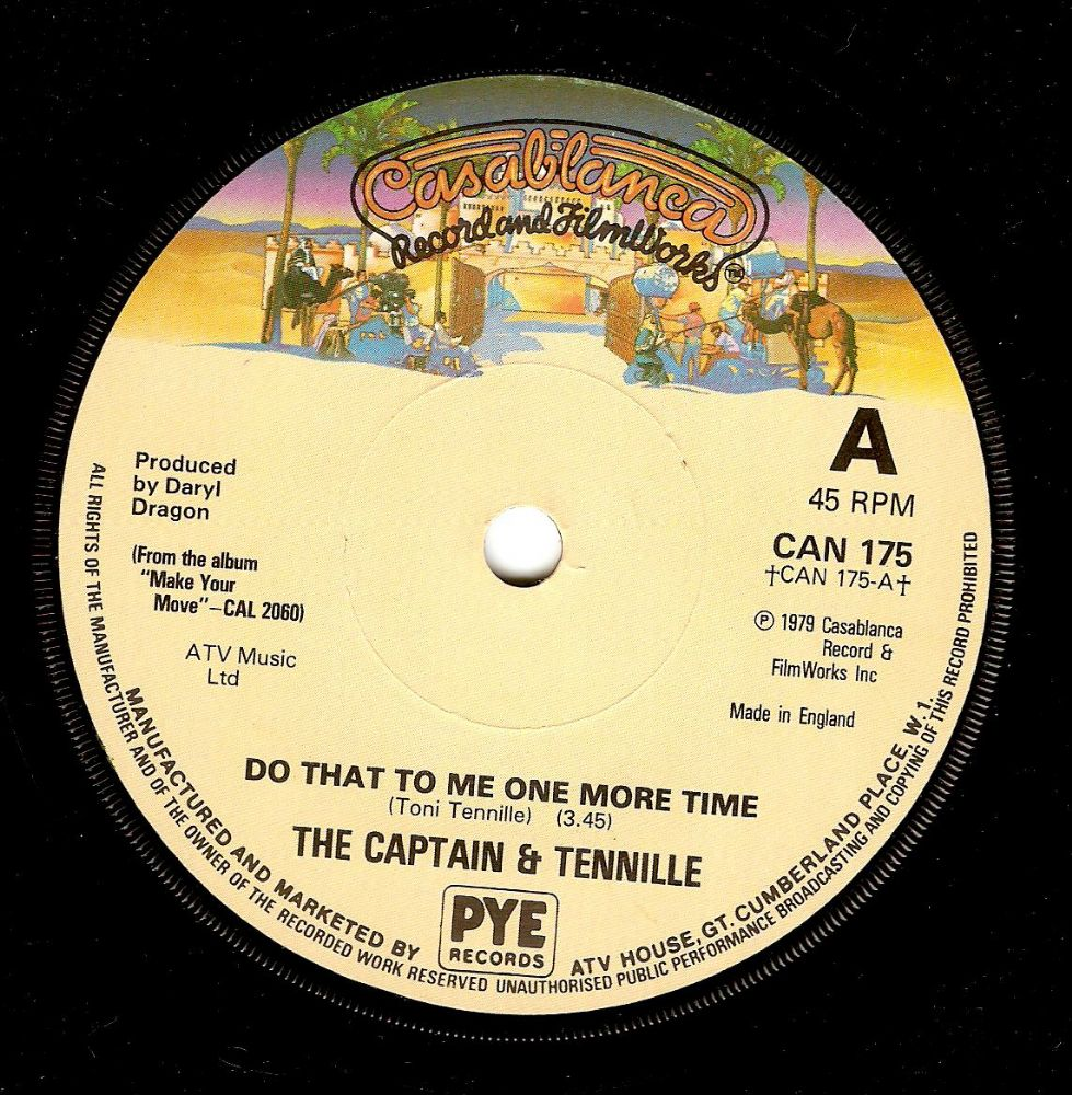 CAPTAIN AND TENNILLE Do That To Me One More Time Vinyl Record 7 Inch Casablanca 1979.